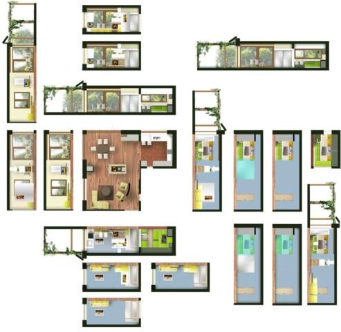 návrh interiéru hlavního obytného prostoru se sklopenými řezopohledy