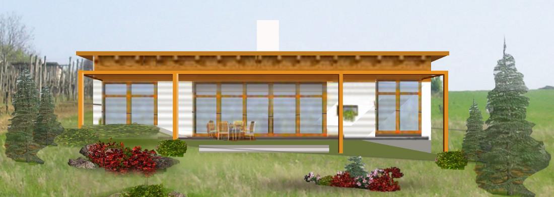 pohled ze zahrady - schematická fotomontáž