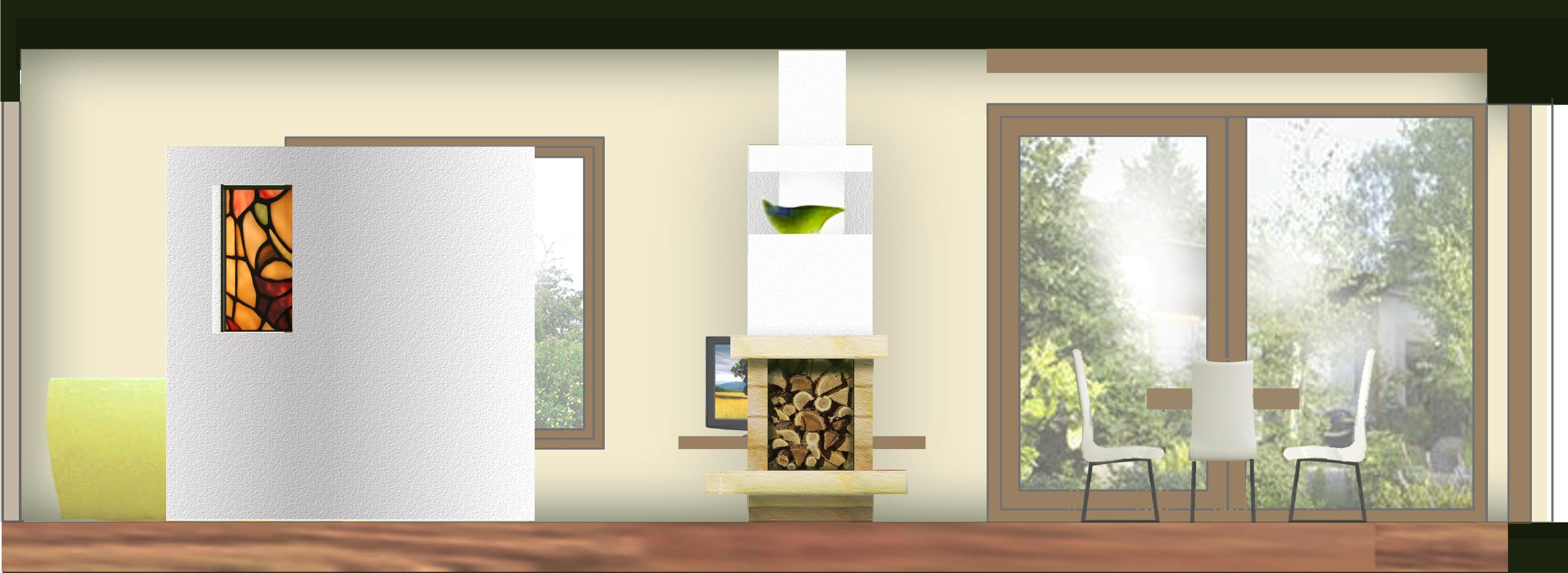 pohled z hlavního průchodu - na dělící stěnu s vitráží (odděluje prostor sedacího koutu) a jídelní kout