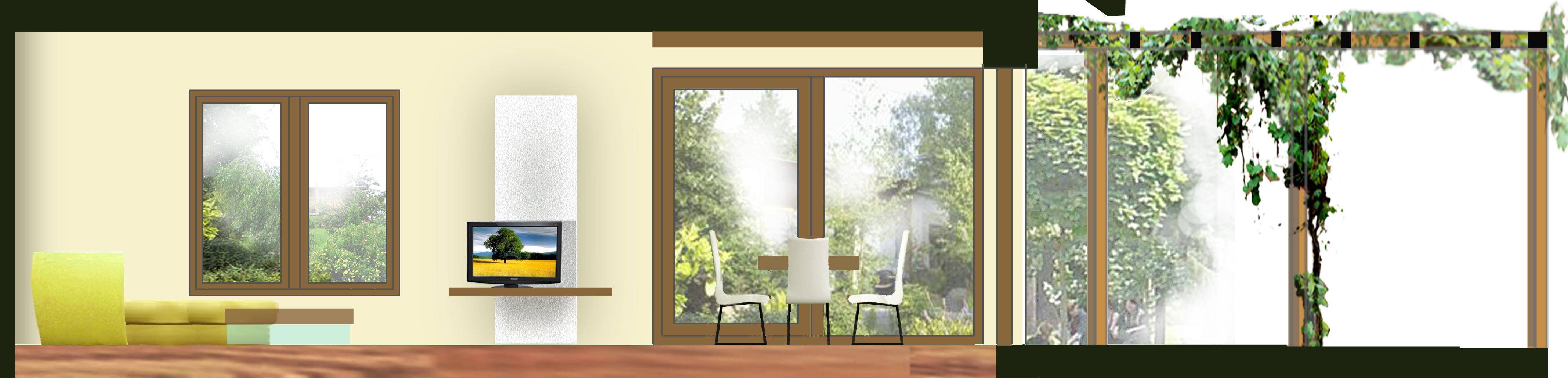 řezopohled hlavními obytnými prostorami - obývacím a jídelním koutem (a venkovní terasou)