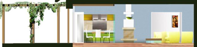pohled od oken dovnitř mítnosti - na jídelnu, krb a sedačku