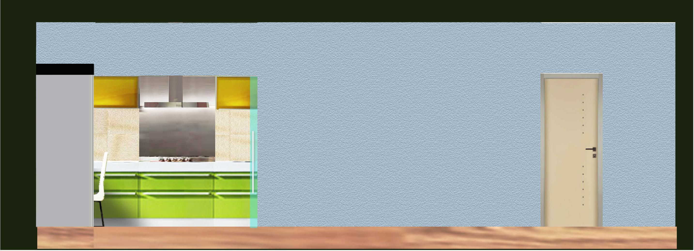 pohled na zeď s nikou kuchyně, skleněné dveře se zasouvají do pouzdra
