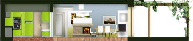pohled od oken zahrady dovnitř domu - řez kuchyní, jídelním koutem, terasou, pohled na krb a sedačku (vzadu)