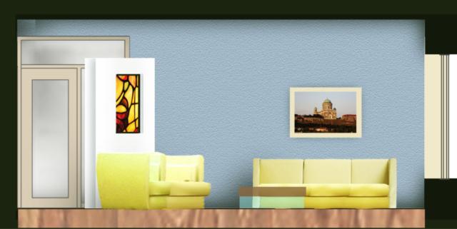 pohled od oken zahrady dovnitř domu - řez sedacím koutem (pohled na dělicí stěnu s vitráží)