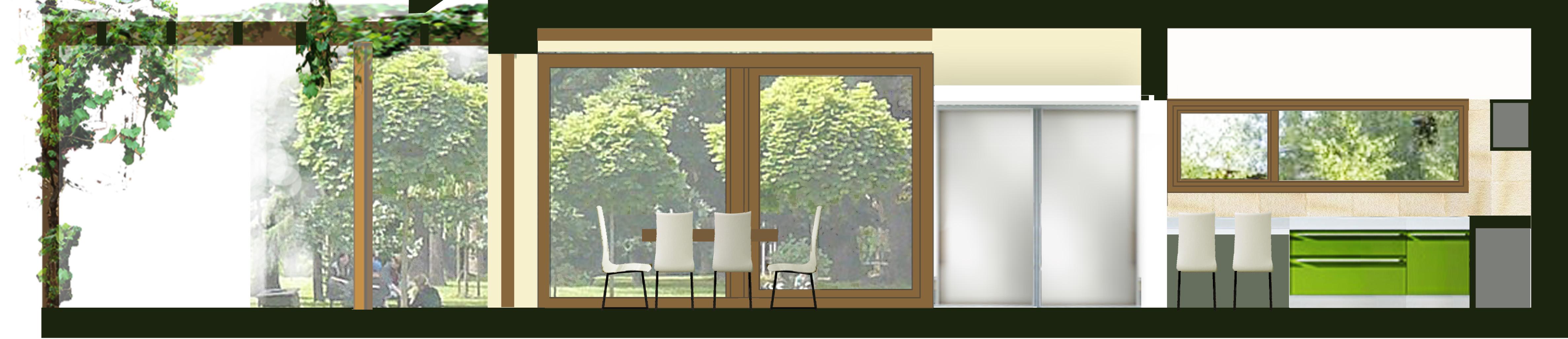 řezopohled kuchyní, jídlenou a terasou, pohled  do zahrady