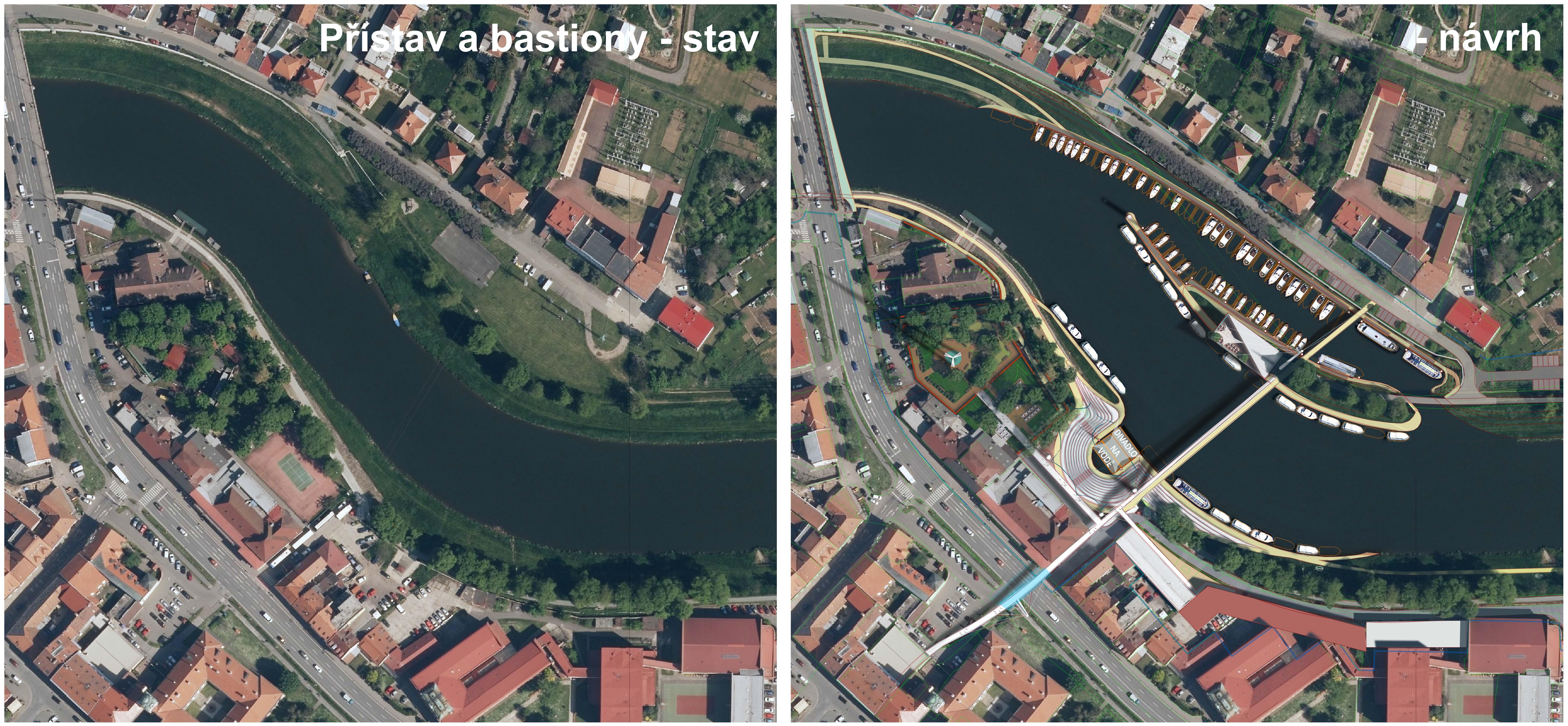 Přístav Uherské Hradiště a bastiony - celková situace