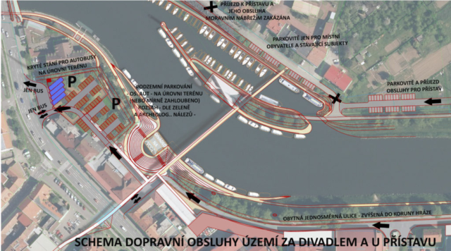 Schema dopravní obsluhy a parkování u Slováckého divadla  - pod Parkem Bastion