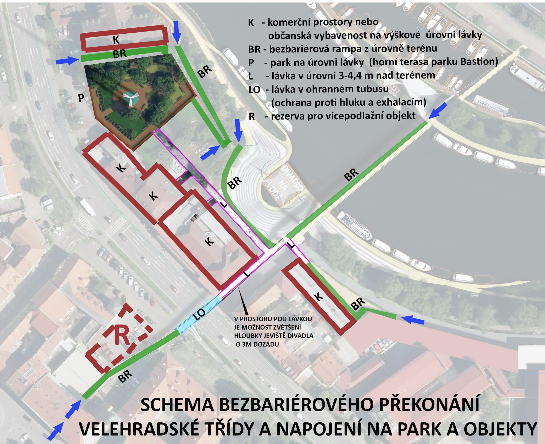 bezbariérové překonání Velehradské třídy v Uherském Hradišti (dočasné řešení do doby výstavby obchvatu)