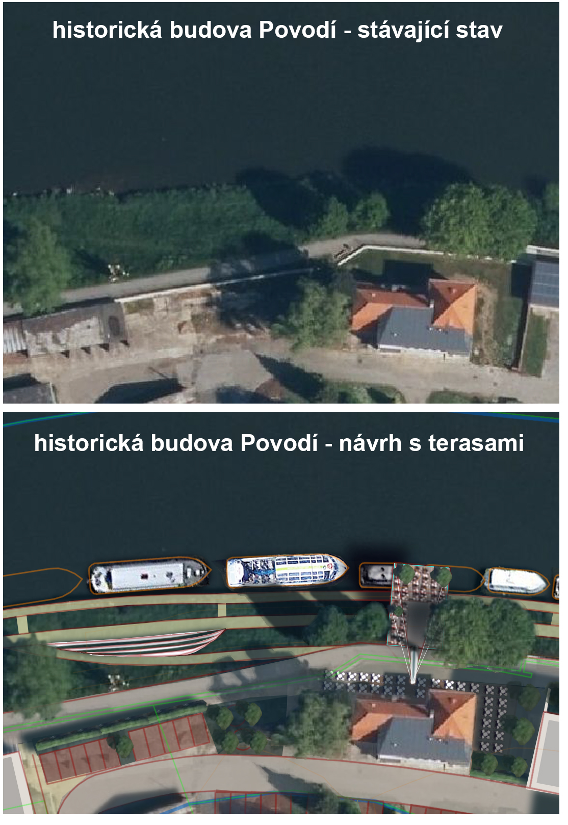 vyhlídková terasa s restaurací v historické budově Povodí řeky Moravy v Uherském Hradišti